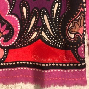 Oscar de la Renta Colorful Silk Scarf